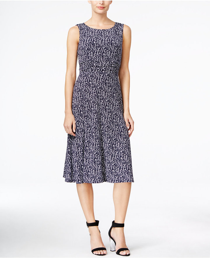 Jessica Howard Printed Ruched-Waist Dress