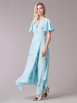 Diane von Furstenberg Flutter Sleeve Crew Neck Gown