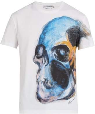 Alexander McQueen Skull Print Short Sleeve Cotton T Shirt - Mens - White Multi