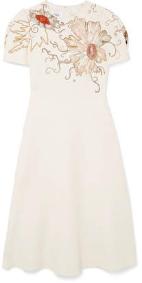 Valentino Embellished Wool And Silk-blend Crepe Dress - Ivory