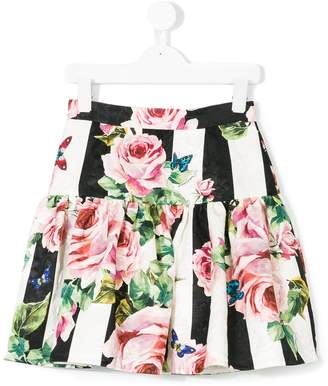 Dolce & Gabbana striped rose print skirt