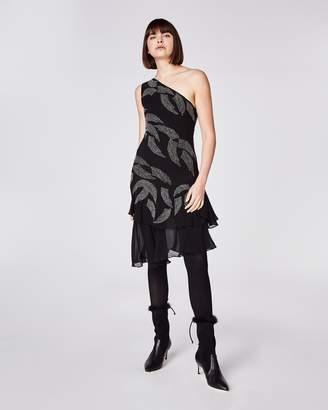Nicole Miller Embellished Wing One Shoulder Dress