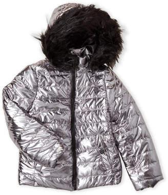 Urban Republic Girls 7-16) Metallic Faux Fur Trim Hooded Coat