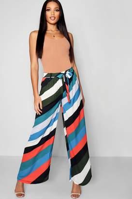 boohoo Tonal Stripe Wide Leg Trouser