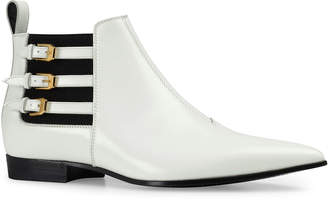 Gucci Men's Quebec Point-Toe Buckle-Strap Ankle Boots