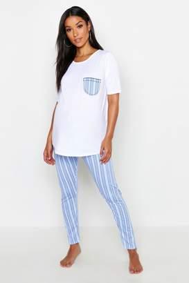 6a6af89808248 boohoo Maternity Stripe Pocket PJ Set