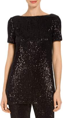 St. John Pleated Embellished Tulle Tunic