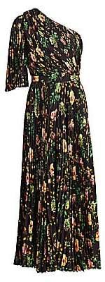 MSGM Women's Floral Pleated One-Shoulder Jumpsuit