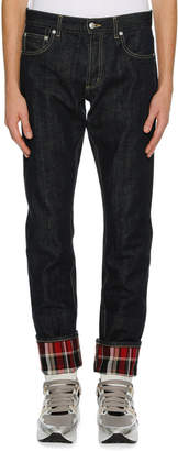 Alexander McQueen Men's Straight-Leg Jeans with Plaid Cuffs