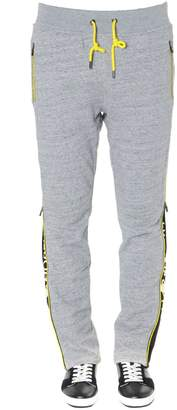 Frankie Morello Grey Cotton Logo Bands Jogging Pants