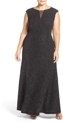 Eliza J Cap Sleeve Mesh Inset Glitter Knit Gown