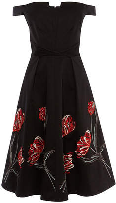 Karen Millen Embroidered Bardot Dress