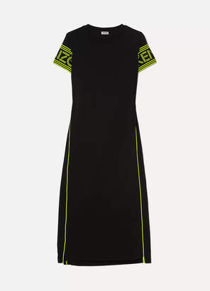 Kenzo Neon Printed Cotton-jersey Midi Dress - Black