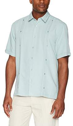 Cubavera Men's Tall Short Sleeve Cuban Camp Shirt with Contrast Insert Panels