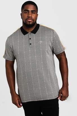 BoohoomanBoohooMAN Mens Black Big & Tall Check MAN Signature Polo, Black