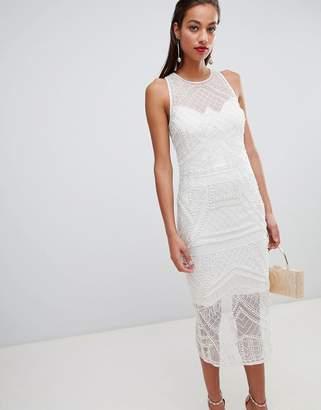 Asos Design DESIGN embellished pearl fringe midi dress