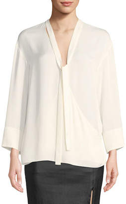 Theory Relaxed Tie-Neck Long-Sleeve Silk Wrap Top