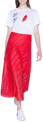 Akris Long Lips Embroidery Skirt
