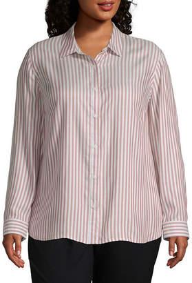Liz Claiborne Long Sleeve Button Down Shirt - Plus