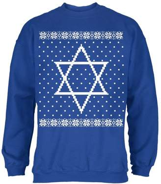 Old Glory Big Star of David Ugly Hanukkah Sweater Mens Sweatshirt Royal 2XL