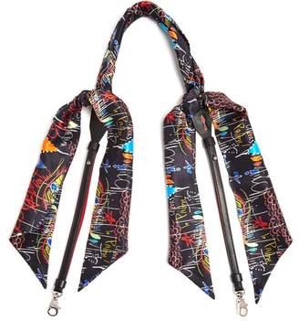 Christian Louboutin Artemistrap Loubitag Scarf Leather Bag Strap - Womens - Black Multi