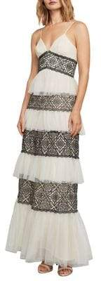 BCBGMAXAZRIA Farrell Embroidered Lace-Trimmed Gown
