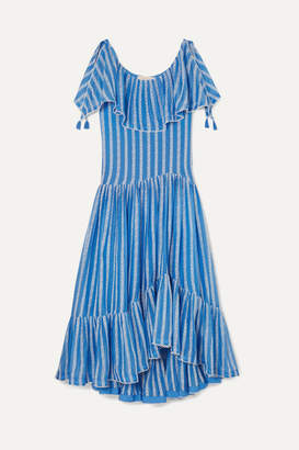 Tory Burch Crochet-trimmed Ruffled Broderie Anglaise Cotton And Silk-blend Voile Maxi Dress - Blue