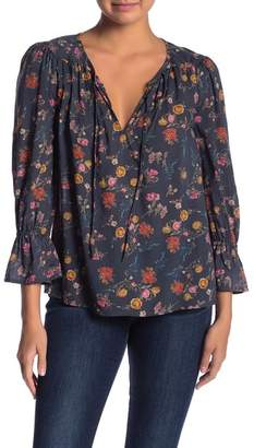 Lucky Brand Floral Bell Sleeve Peasant Blouse