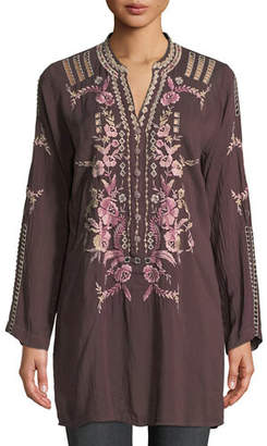 Johnny Was Clio Long-Sleeve Embroidered Tunic