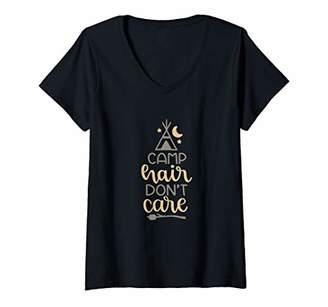 Womens Camp Hair Don't Care V-Neck T-Shirt