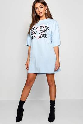 boohoo Graffiti New York Oversized T Shirt Dress