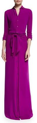 Ralph Lauren Collection Long-Sleeve Button-Front Shirt Gown, Berry $2,990 thestylecure.com