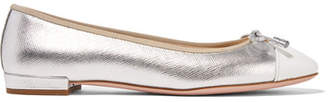 Prada Metallic Textured And Patent-leather Ballet Flats - Silver