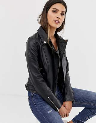 Barneys New York Barneys Originals leather biker jacket with mock croc panels