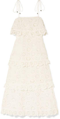 Zimmermann Lumino Daisy Broderie Anglaise Cotton-voile Dress - White