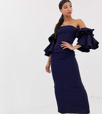 Bardot Yaura exaggerated frill sleeve maxi dress in navy
