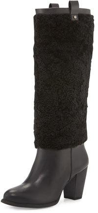 UGGUGG Ava Exposed-Fur Knee Boot, Black