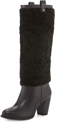 UGG Ava Exposed-Fur Knee Boot, Black $165 thestylecure.com