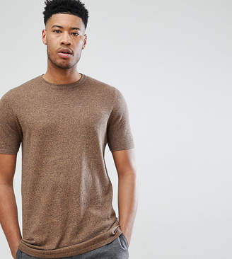 Asos DESIGN Tall Knitted T-Shirt In Tan Twist