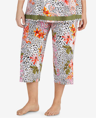 Ellen Tracy Plus Size Cropped Floral-Print Pajama Pants