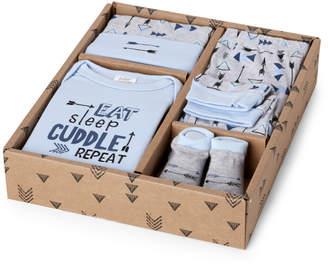 "Baby Essentials Newborn Boys) 4-Piece ""Eat, Sleep & Cuddle"" Bodysuit, Pants, Hat & Socks Set"