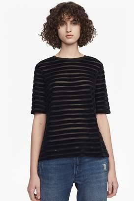 French Connection Bernice Velvet Stripe Jersey T-Shirt