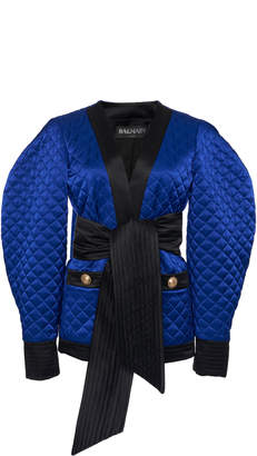Balmain Rounded Sleeve Quilted Satin Jacket