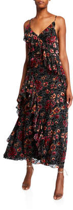 Jill Stuart Dalia Floral Flocked V-Neck Sleeveless Ruffle-Trim Gown