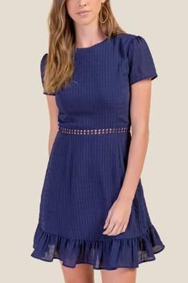 francesca's Hayley Ruffle Sheath Dress - Navy