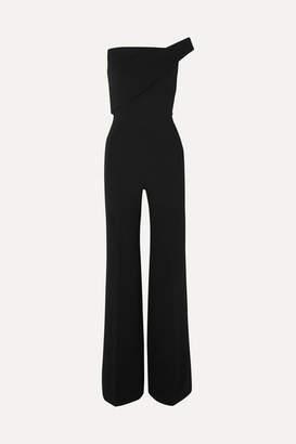 Roland Mouret One-shoulder Wool-crepe Jumpsuit - Black