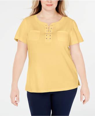 Karen Scott Plus Size Lace-Up Cotton Top