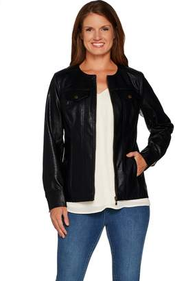 Belle By Kim Gravel Belle by Kim Gravel Faux Leather Distressed Jean Jacket