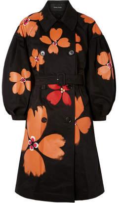 Simone Rocha Oversized Painted Cotton-blend Trench Coat - Black
