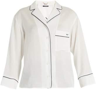 Muveil Good night-embroidered notch-lapel shirt
